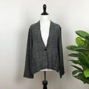 Eileen Fisher gray linen lagenlook cardigan